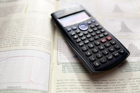 Calculator on finance papers