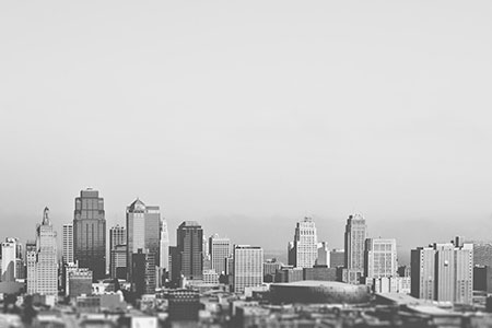 Big city skyline in black and white
